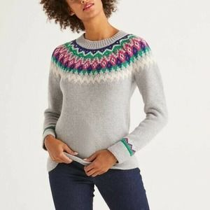 Boden Emma Knit Pullover Sweater Fair Isle Grey